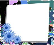Colorful background with stylized daisies in blue tones. Floral background with colorful daisies Royalty Free Stock Photo