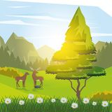 Colorful background of sunny landscape with deer in forest. Vector illustration Royalty Free Stock Photos