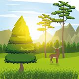 Colorful background of sunny landscape with deer beside the road in forest. Vector illustration Royalty Free Stock Photo