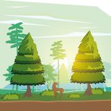 Colorful background of sunny landscape with deer beside the road in forest. Vector illustration Royalty Free Stock Photography