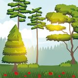 Colorful background of sunny landscape of forest. Vector illustration Stock Photography