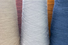 Colorful background from threads and yarns isolated Stock Images