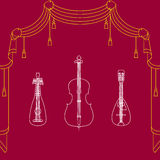 Colorful  background. Colorful  background with three musical instrument Stock Images