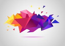 Colorful background of triangles. Vector 3d crystal colorful shapes, banner. Horizontal banner, faceted colorful Royalty Free Stock Photography