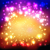 Colorful Background with Twinkling and Glittering Stars Stock Images