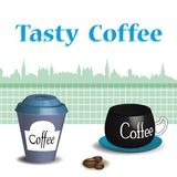 Tasty coffee in two different cups royalty free illustration