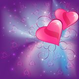 Colorful  background  with two hearts Stock Image