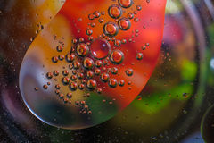 Colorful background from water drops. And oil Stock Photo