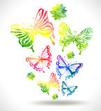 Colorful background with watercolor butterflies and flowers Stock Photography