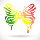 Colorful background with watercolor butterfly Stock Images