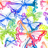 Colorful background with watercolor butterfly, seamless pattern Royalty Free Stock Photos