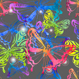 Colorful background with watercolor butterfly, seamless pattern Stock Image