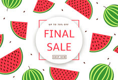 The colorful background with watermelons. Final Sale poster, ban. Ner. Vector illustration Royalty Free Stock Photos