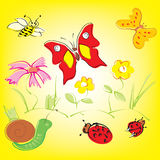Colorful background with whimsical flowers, butterflies and ladybugs. In a cheerful color palette Royalty Free Stock Photos