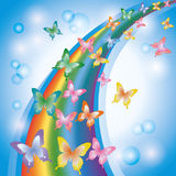 Colorful Background With Rainbow And Butterflies Royalty Free Stock Photography