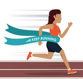 Colorful background with woman athlete running in track and crossing the finish line. Vector illustration Stock Images