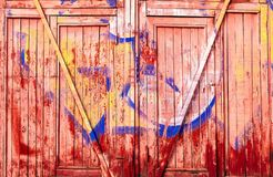 Colorful background of wooden boards painted with age, natural light, copy space, closeupn royalty free stock photo