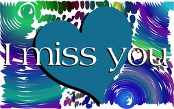 Colorful background with words I miss you Royalty Free Stock Image