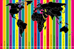 Colorful background with world map and time zones Royalty Free Stock Images