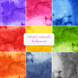 Colorful backgrounds pack. Vector watercolor nine colors backgrounds set Royalty Free Stock Image