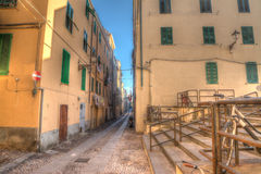 Colorful backstreet in Alghero old town Stock Photography