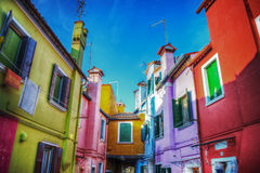 Colorful backstreet in Burano Royalty Free Stock Photography