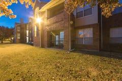 Colorful backyard of apartment complex in fall season near Dallas, Texas, America stock photo