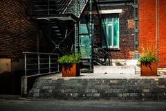 Colorful backyard of an building. In duisburg landschaftspark germany royalty free stock images