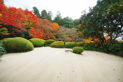 Colorful backyard garden of buddhist temple Royalty Free Stock Image