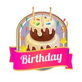 Badge of delicious birthday tower tart. Colorful badge of delicious birthday tower tart Stock Image