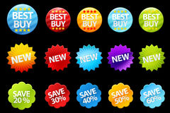 Colorful badges. A set of colorful badges for shopping Stock Image