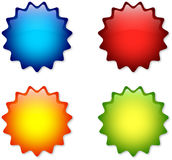 Colorful badges. Four colorful badges isolated on white background Royalty Free Stock Photo