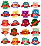 Colorful badges with red ribbon for sale 70 percent off. Set of twenty discount stickers. Colorful badges with red ribbon for sale 70 percent off. Vector Stock Illustration