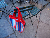 Colorful bag ( forgotten ). Picture of the colorful bag on the chair ( forgotten Stock Photo