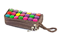 Colorful bag made of natural materials. Royalty Free Stock Photography