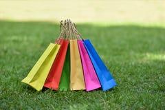Colorful bag shopping. On the garden Royalty Free Stock Photos