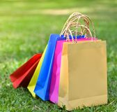 Colorful bag shopping. On the garden royalty free stock images
