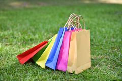 Colorful bag shopping. On the garden royalty free stock image