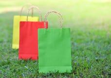 Colorful bag shopping. On the garden Stock Photo