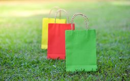 Colorful bag shopping. On the garden stock photography