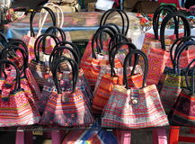 Colorful Bags. At a market in Chiang Mai, Thailand stock photography