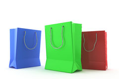Colorful bags with handles. On a white background Stock Photo