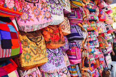 Colorful bags. /purses hanging in a store in Mexico Royalty Free Stock Images