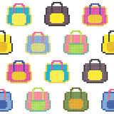 Colorful bags. Seamless pattern. Pixel background. Stock Photography