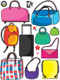 Colorful Bags Set_eps. Illustration of different type of bags set on white background. Additional design logos and flowers element Stock Image