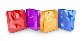 Colorful bags for shopping. 3D. On white background royalty free illustration