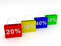 Colorful bags for shopping and sale. Colorful 3d bags for shopping and sale Royalty Free Stock Images