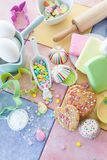 Colorful baking ingredients royalty free stock images