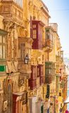 Colorful Balconies in Valletta, Malta. Colorful balconies in the historical part of Valletta, the capital city of Malta Royalty Free Stock Photos