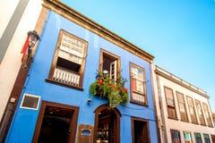 Colorful balconies in Santa Cruz city on La Palma island Stock Images